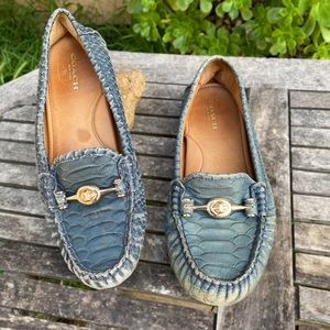 Coach Arlene Turnlock Croc Loafers Blue Green 7